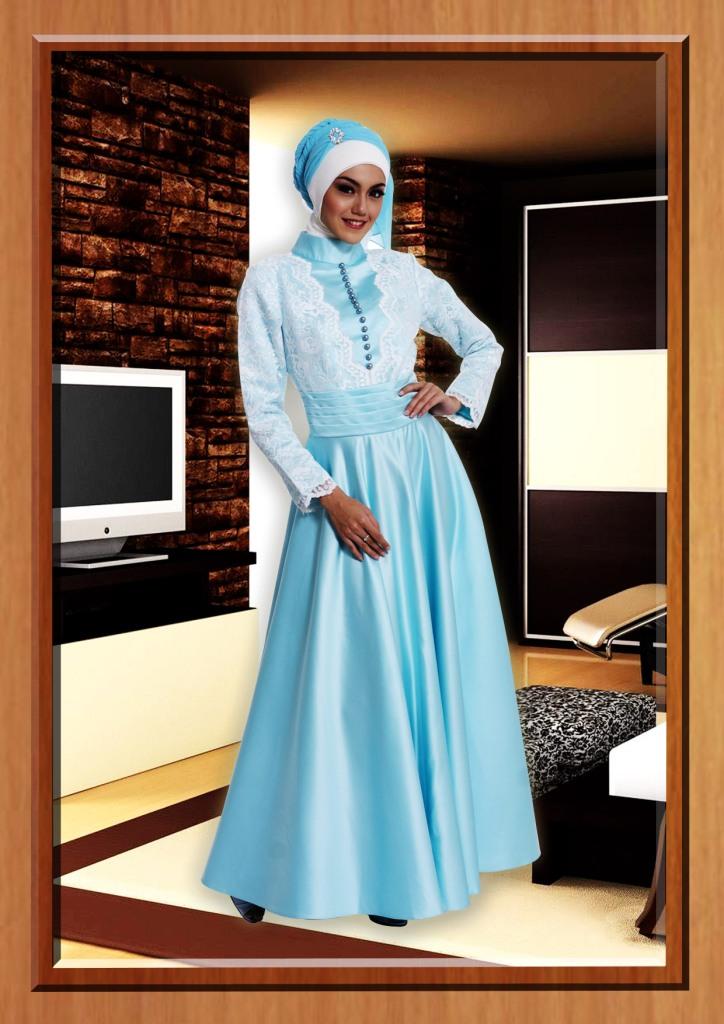 Aqua Tafetta Baju Muslim Gamis Modern