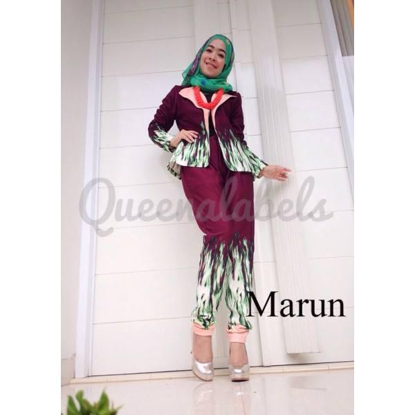 Bennet Set Marun Baju Muslim Gamis Modern