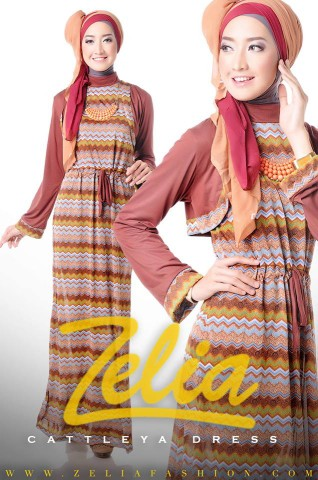Gamis Hijabers Cattleya Dress coklat