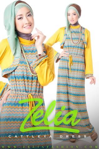 baju muslim resmi Cattleya Dress kuning