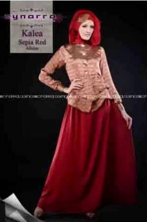 busana gamis pesta terbaru KALEA BY CYNARRA Sepia Red