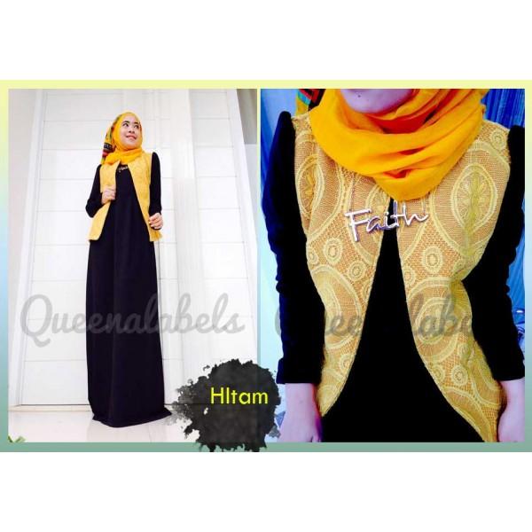 Flavia By Queena Hitam Baju Muslim Gamis Modern