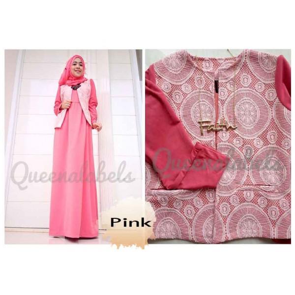 Flavia By Queena Pink Baju Muslim Gamis Modern