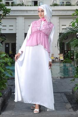 busana kerja wanita berjilbab Rj 07 pink-putih dress bunda. Bisa untuk menyusui.