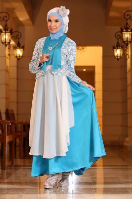 busana hijabers online Rj 08 biru-putih dress bunda. Bisa utk ibu menyusui