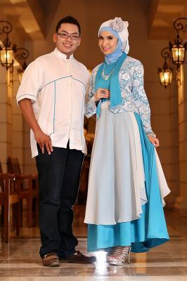 Rajna 08 Biru Putih Baju Muslim Gamis Modern