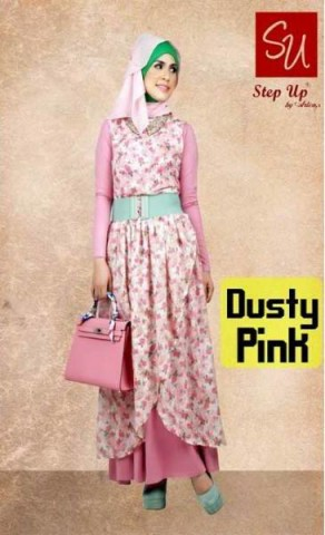 busana pesta hijab STEP UP ELEGANT DRESS (0386) Dusty Pink