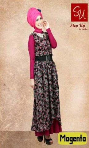 busana untuk pesta STEP UP ELEGANT DRESS (0386) Magenta