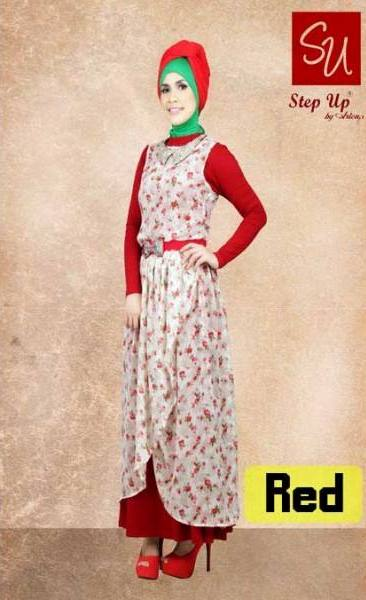 Su Elegant Red Baju Muslim Gamis Modern