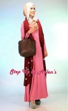gamis rabbani collection STEP UP NOVRIZA Rompi Marun Dress Pink