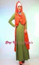 gamis rabbani online STEP UP NOVRIZA Rompi Orange dress Hijau Lumut