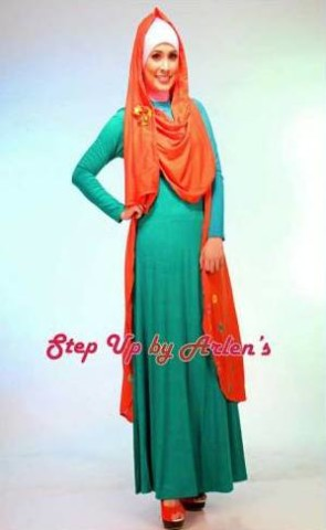 gamis rabbani collection STEP UP NOVRIZA Rompi range Dress hijau