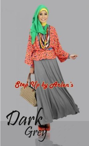 model gamis zahrani terbaru STEP UP VALONIA Dark Grey