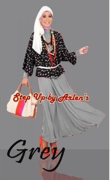 Su Valonia Grey Baju Muslim Gamis Modern