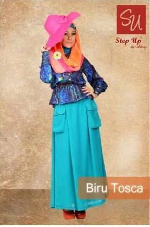 gamis pesta cantik Step up Abayomi Biru Tosca