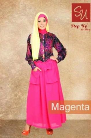gamis pesta terbaru Step up Abayomi Magenta