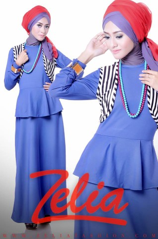 BUsana Muslimah Zelia Dandelion biru