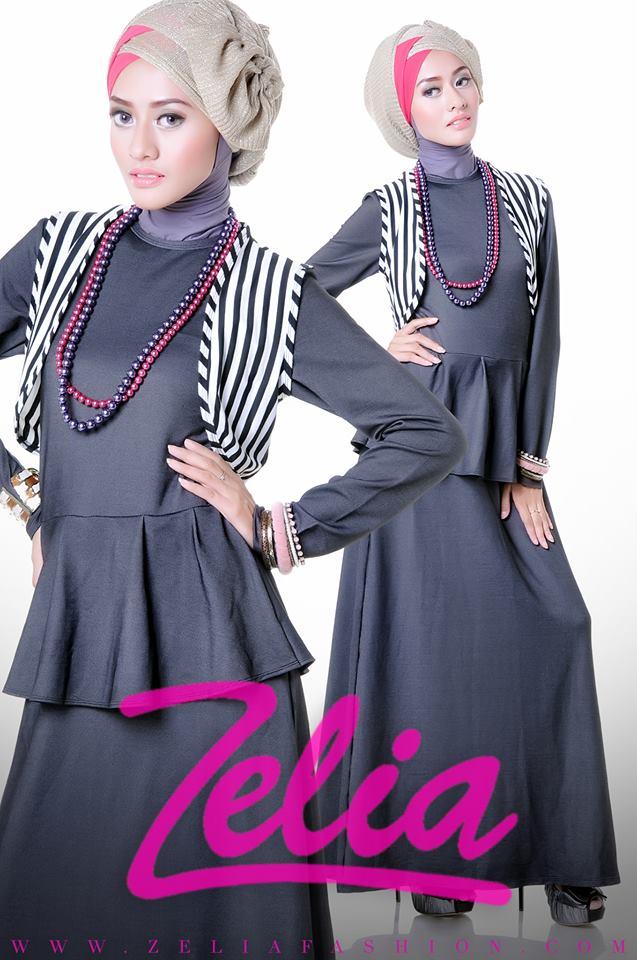 Dandelioin Hitam Baju Muslim Gamis Modern