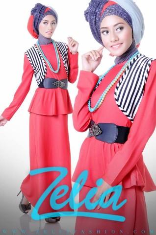 BUsana Muslimah Zelia Dandelion merah