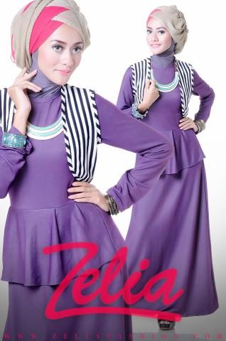 BUsana Muslimah Zelia Dandelion ungu