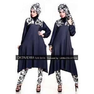 Oktaviera Putih Hitam Baju Muslim Gamis Modern