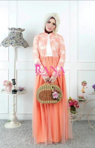 baju gamis pesta AMORA DRESS by Rana  Orange