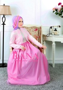 baju gamis pesta terbaru AMORA DRESS by Rana  Pink