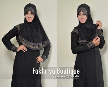 gamis pesta cantik Aulia By Fakhriya hitam