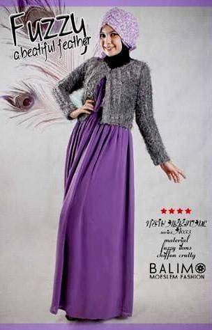 busana kantor wanita muslim Balimo Fuzzy Grey Purple