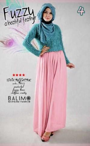 busana muslim terbaru Balimo Fuzzy Turquice Soft Pink