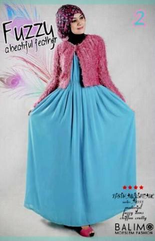 busana hijab style Balimo Fuzzy pink Sky Blue