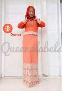 busana gamis pesta CLONE DRESS by Queena Orange