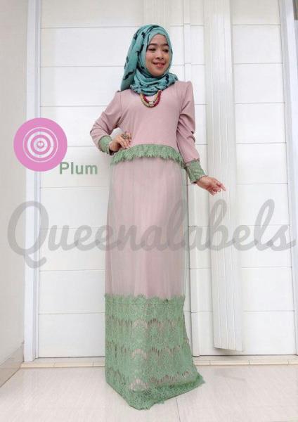 Queena Clone Dres Plum Baju Muslim Gamis Modern