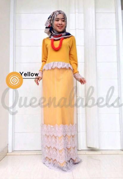 Queena Clone Dres Yellow Baju Muslim Gamis Modern