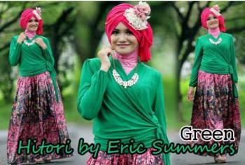 busana gamis muslimah HITORI BY ERIC SUMMER Green