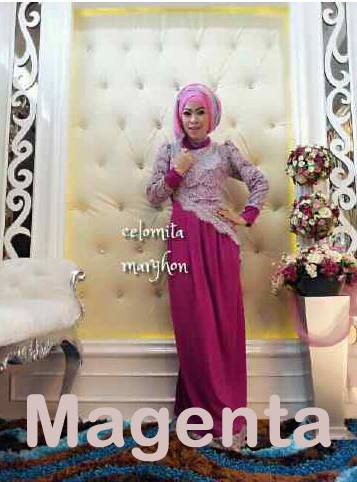 New Celomita Magenta Baju Muslim Gamis Modern