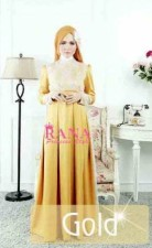 busana ala syahrini PATRIANA DRESS BY RANA STYLE Gold