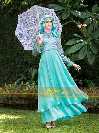 Princess Rajna Biru Baju Muslim Gamis Modern