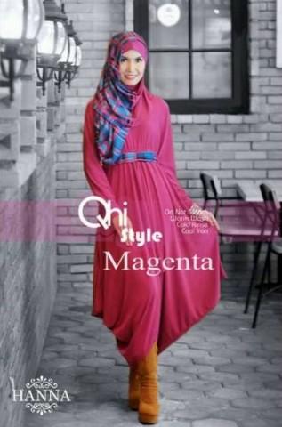 baju muslimah modern dan modis Pusat-Gamis-Terbaru-hanna-by-Qhi-Style-Magenta