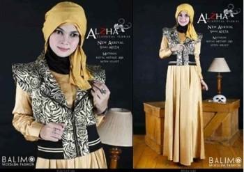 baju muslim butik online Pusat-Gamis-terbaru-Balimo-Alzha-Gold