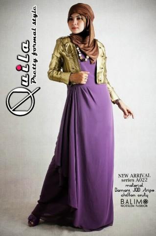 busana wanita terbaru Quila Gold Purple