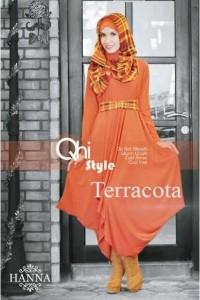baju muslim branded terbaru  pusat-Gamis-Terbaru-Hanna-by-Qhi-Style-Teracota