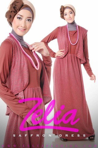 busana muslim grosir saffron merah bata