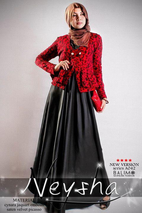 Balimo Neysha 5 Hitam Baju Muslim Gamis Modern