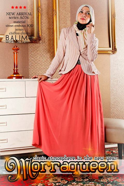 Morraqueen Cream Baju Muslim Gamis Modern