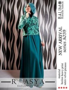 gamis pesta elegan dan mewah Balimo Rhasya Dark green