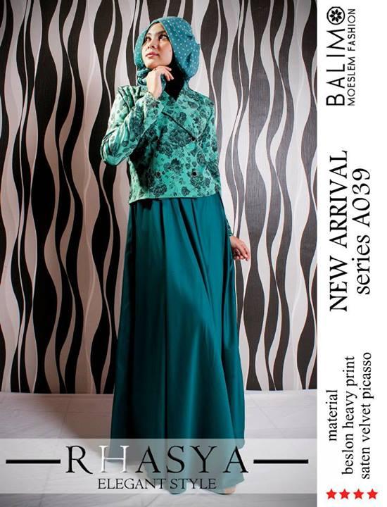Balimo Rhasya D Green Baju Muslim Gamis Modern