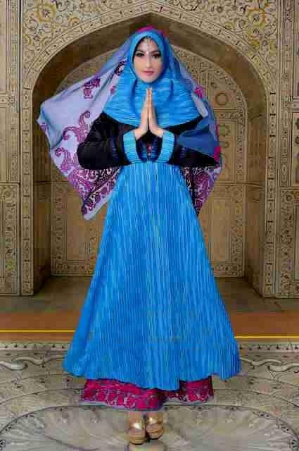 gaun muslimah online Rajna 10 Blue Tosca Pink