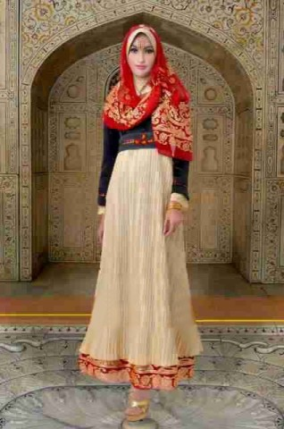 gaun muslim modern terbaru Rajna 10 Gold Red