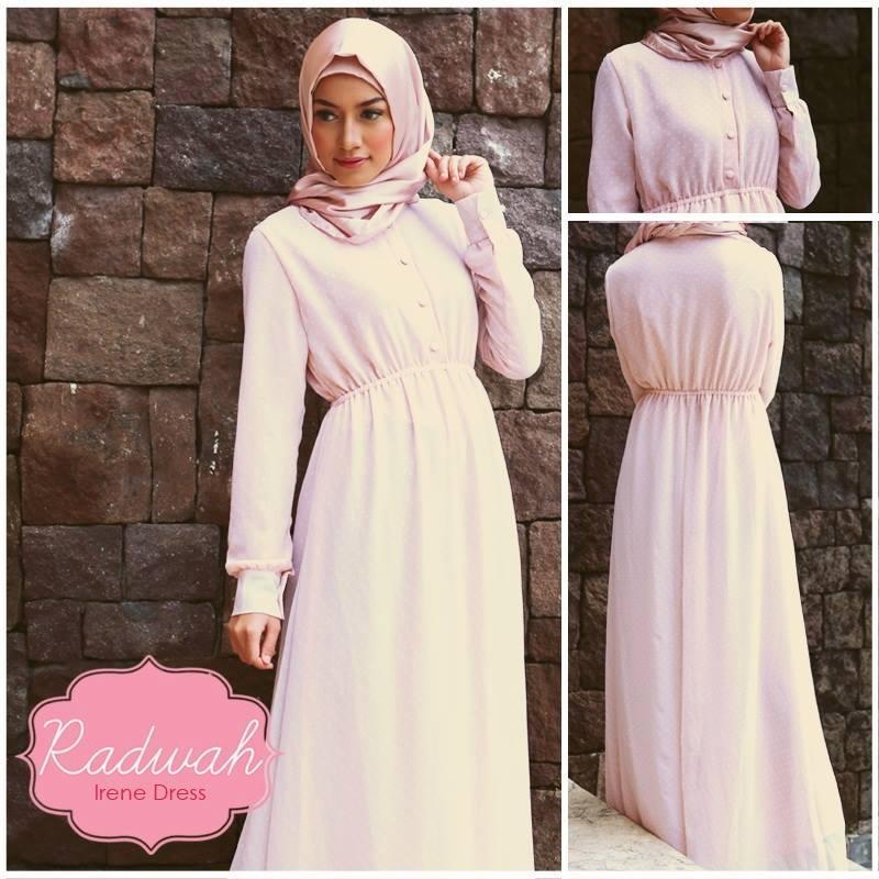 Irene Color Soft Peach Baju Muslim Gamis Modern